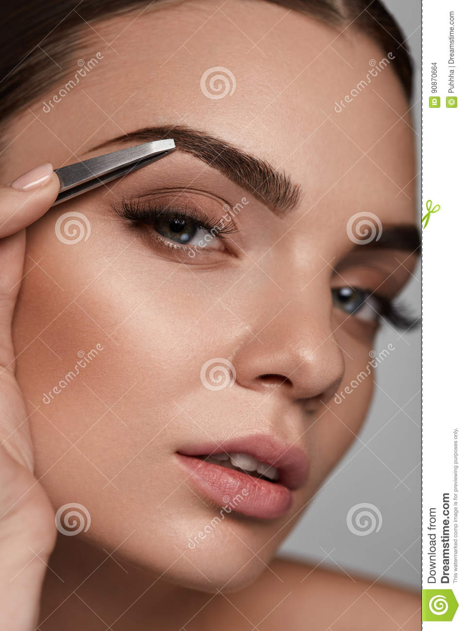 Beautiful Woman Plucking Eyebrows Beauty Brows Correction Stock