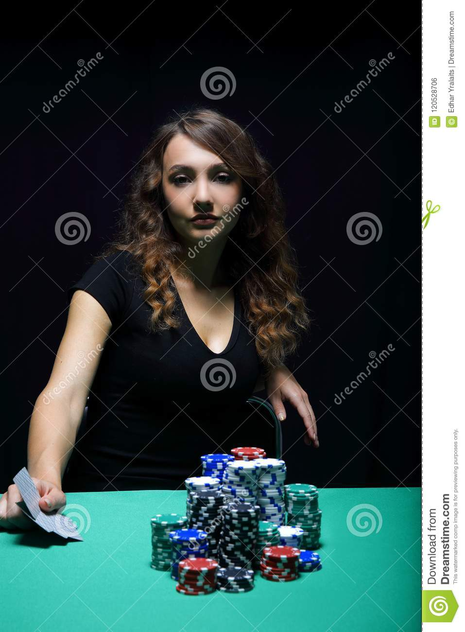 beautiful woman with poker cards stock photo  image of