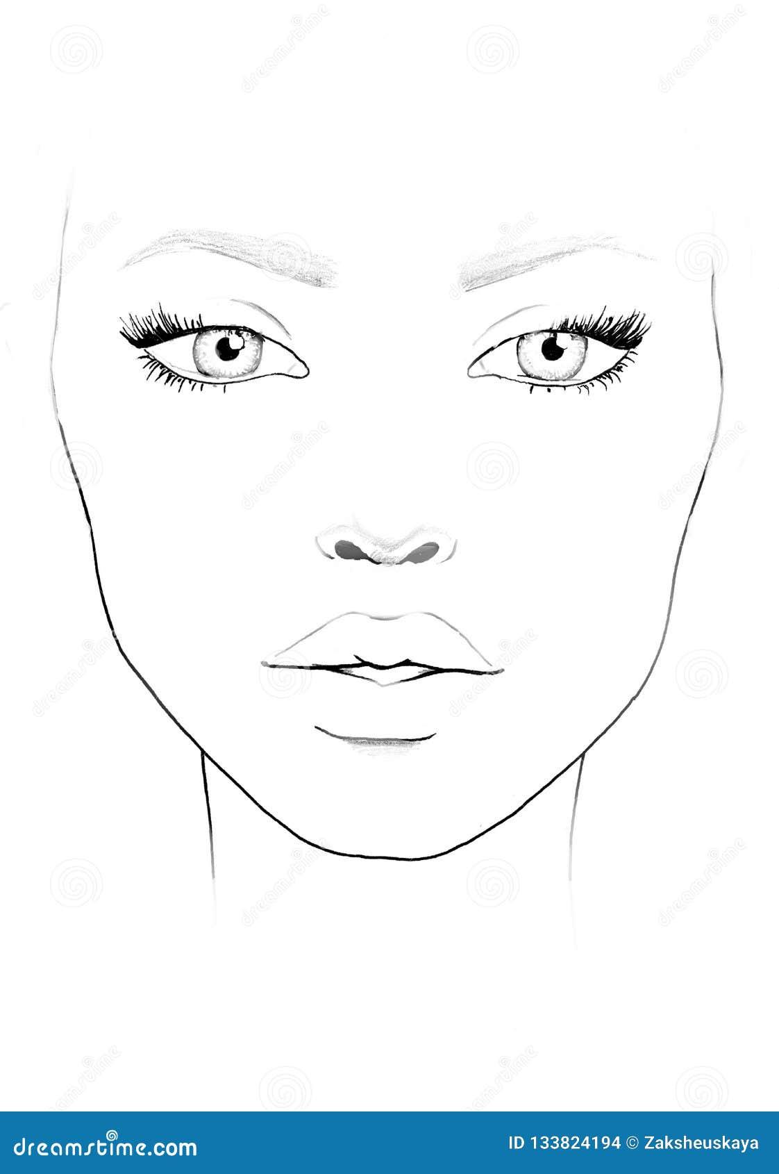 Face Chart Makeup Artist Blank Beautiful Woman Portrait Face Chart