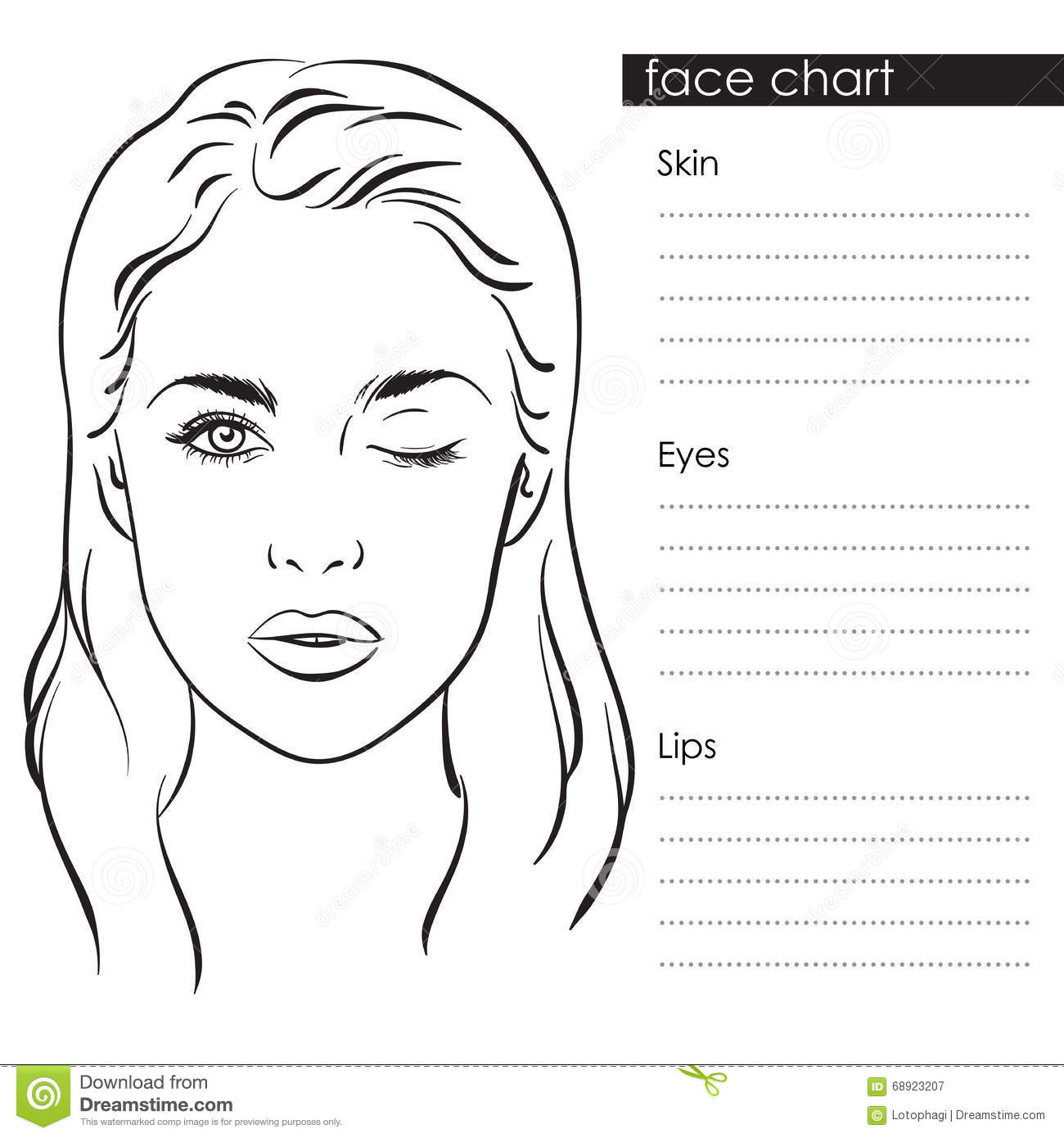 Free Blank Face Charts For Makeup Artists