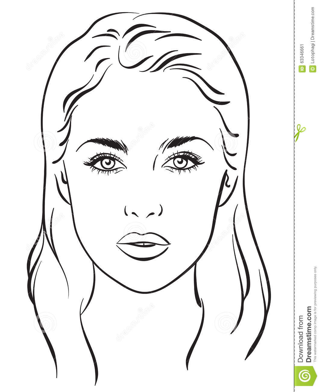 Blank Face Diagram Worksheet And Wiring Ruud Urgg12e61ckr Beautiful Woman Portrait Chart Vector Illustration Stock Rh Dreamstime Com Muscle Eye