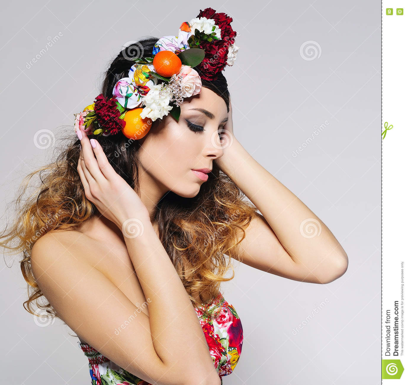 Beautiful Woman Portrait In Handmade Flower Crown Stock Photo