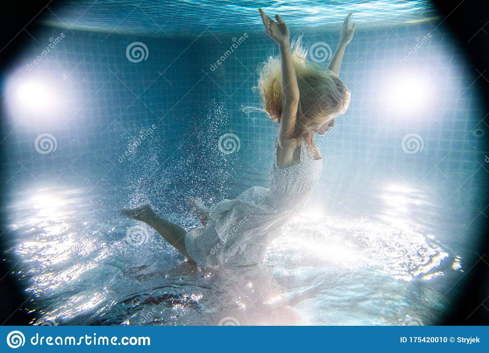 Underwater Photo Pretty Young Girl With Dark Long Hair