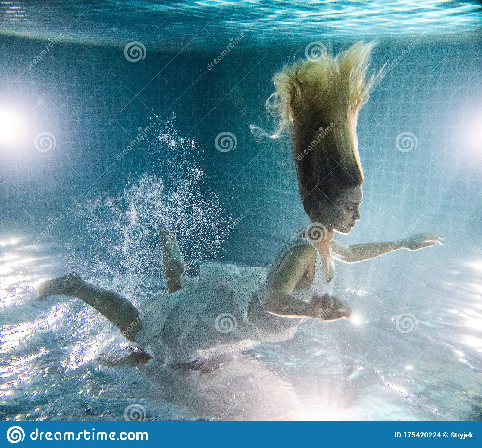 Beautiful Mermaid Underwater Stock Photos & Beautiful