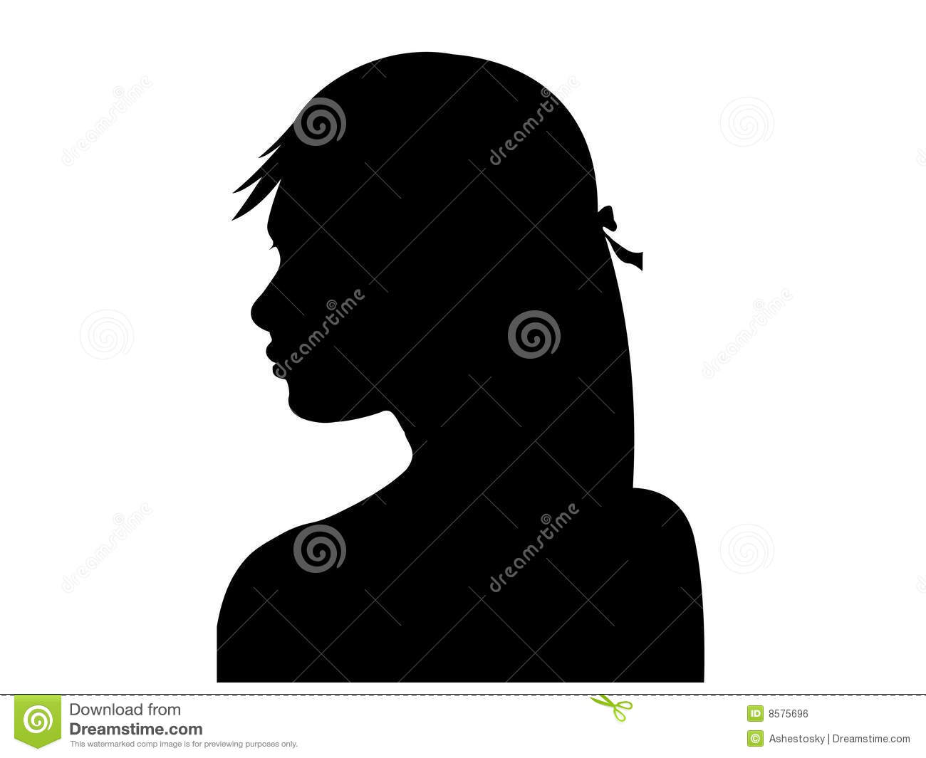 Beautiful woman profile silhouette
