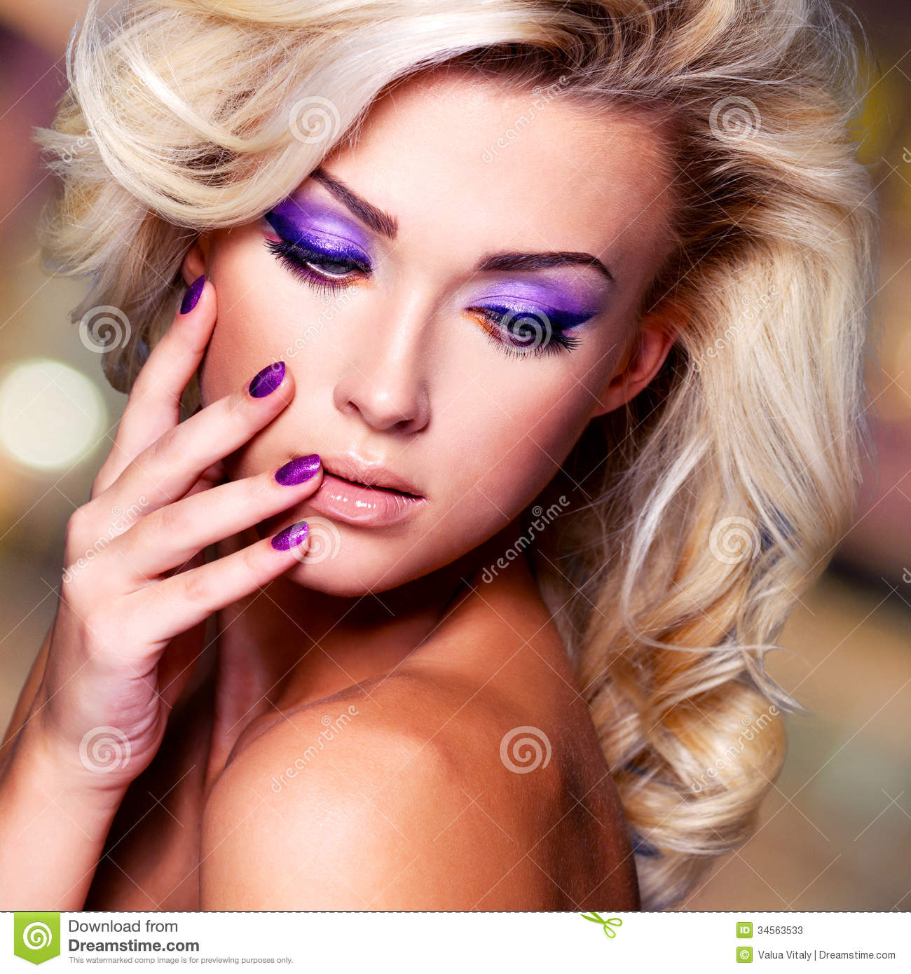 Beautiful Woman With Purple Nails And Glamour Makeup Stock Photos ...