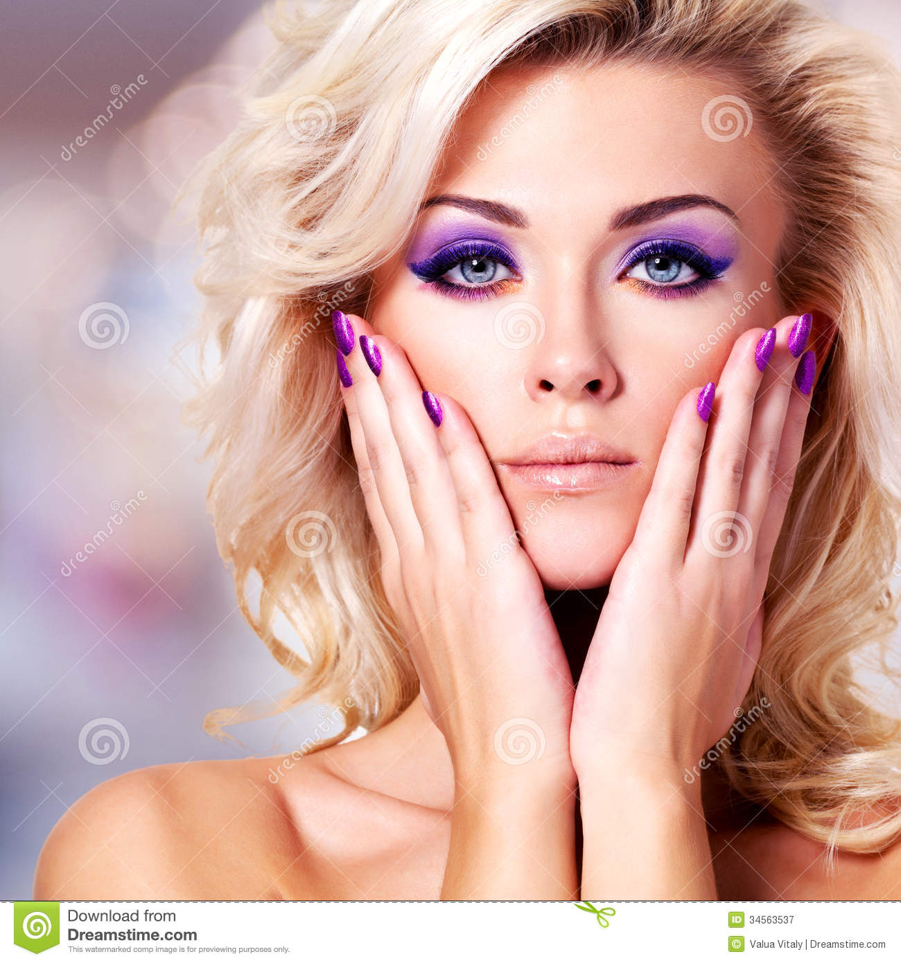 Beautiful Woman With Purple Nails And Glamour Makeup Stock Image - Image Of Blonde Makeup 34563537