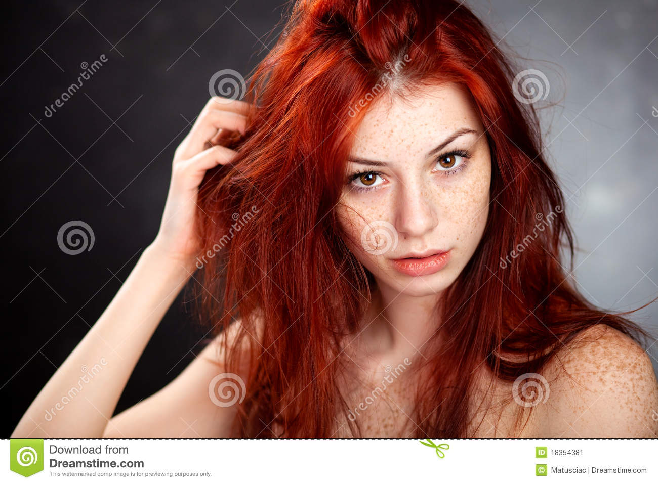 Beautiful auburn haired woman