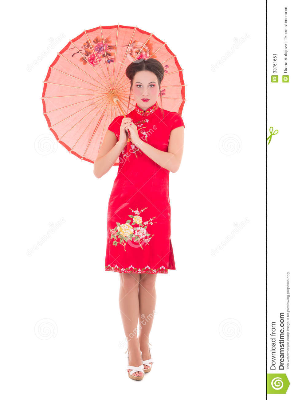 Beautiful Woman In Red Japanese Dress With Umbrella