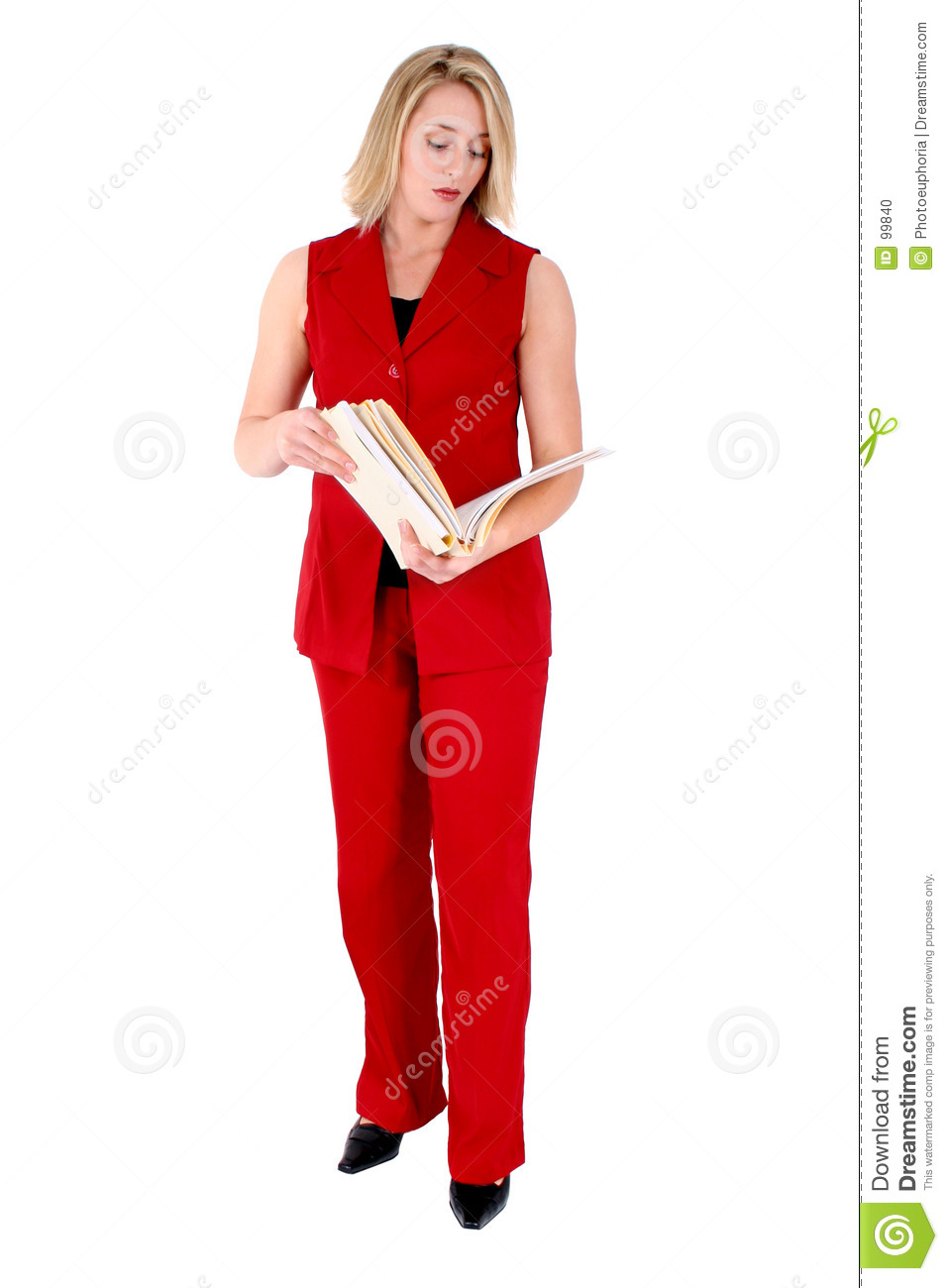 Beautiful Woman In Red Sleeveless Business Suit Looking At