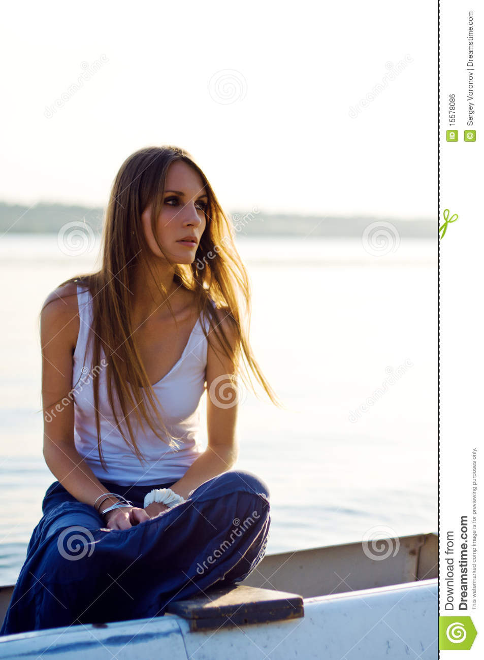 Beautiful Woman Relaxing In The Boat Royalty Free Stock Image - Image: 15578086