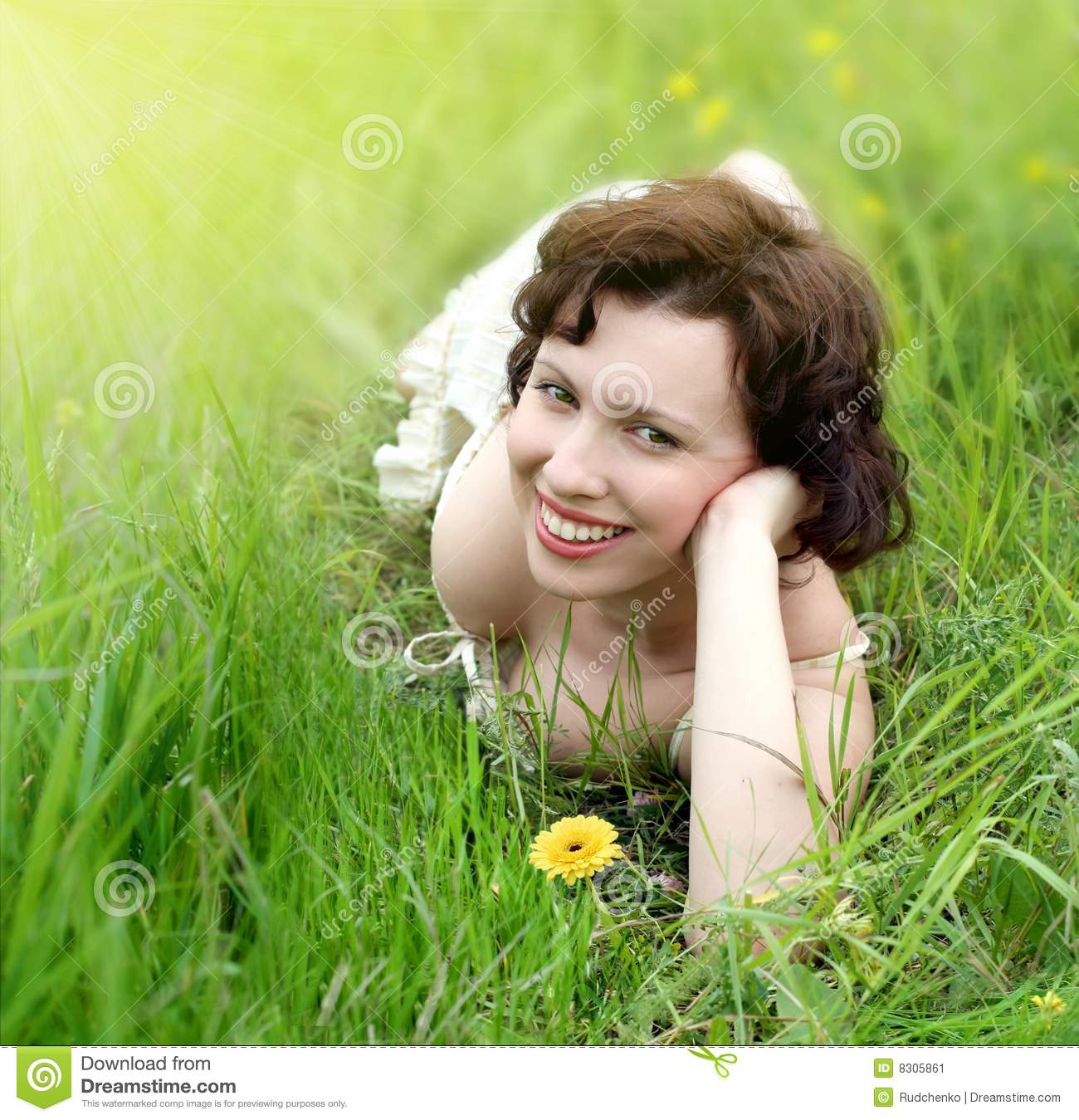 Beautiful woman relaxing in the grass stock image image for Pretty grass