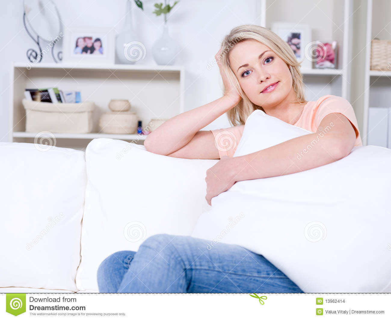 Beautiful Woman Relaxing At Home Stock Images Image