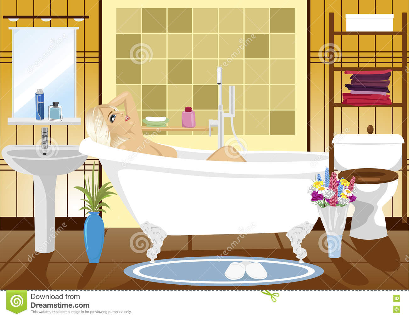 Beautiful Woman Relaxing In Spa Bath At Home Stock Vector ...