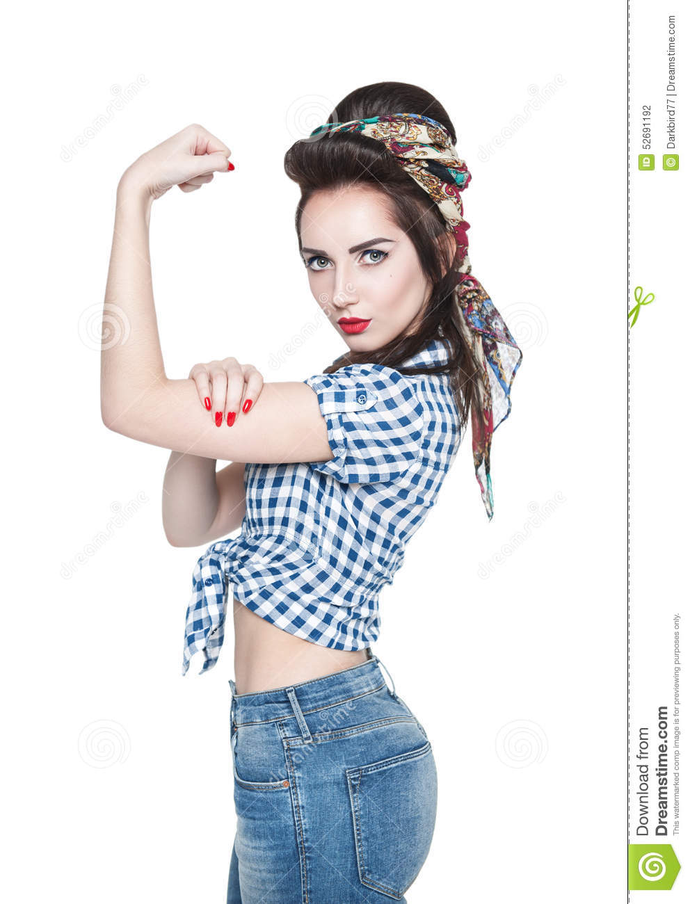 Beautiful Woman In Retro Pinup Style With Powerful Gesture We Ca