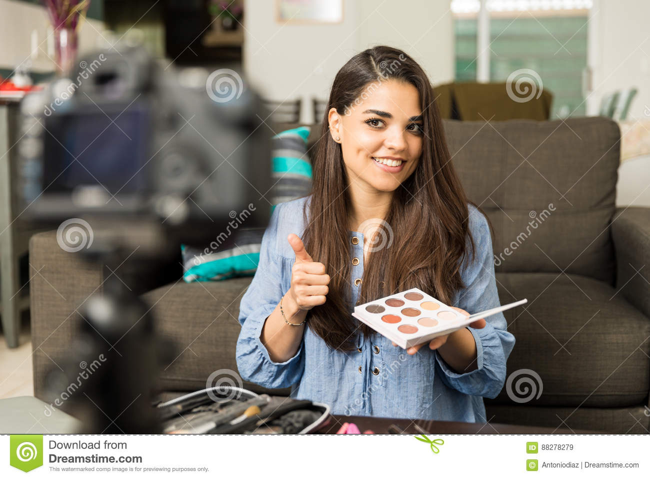 Beautiful woman reviewing beauty products