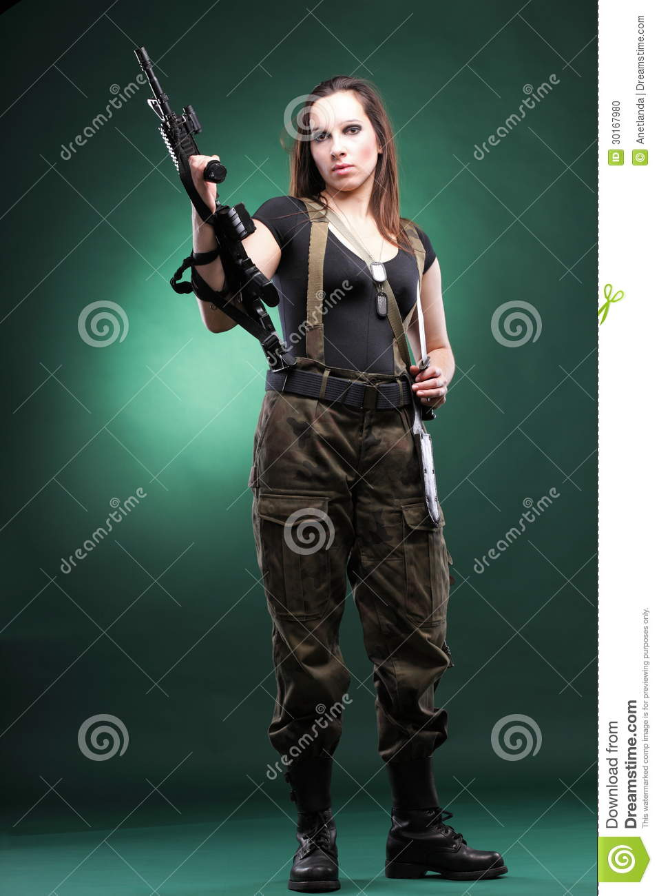 Join military naked army girl holding a gun can