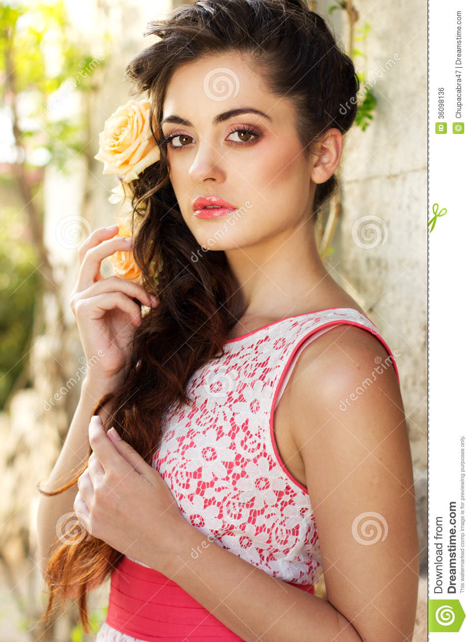 Beautiful woman with roses royalty free stock image image 36098136 beautiful woman dhlflorist Gallery
