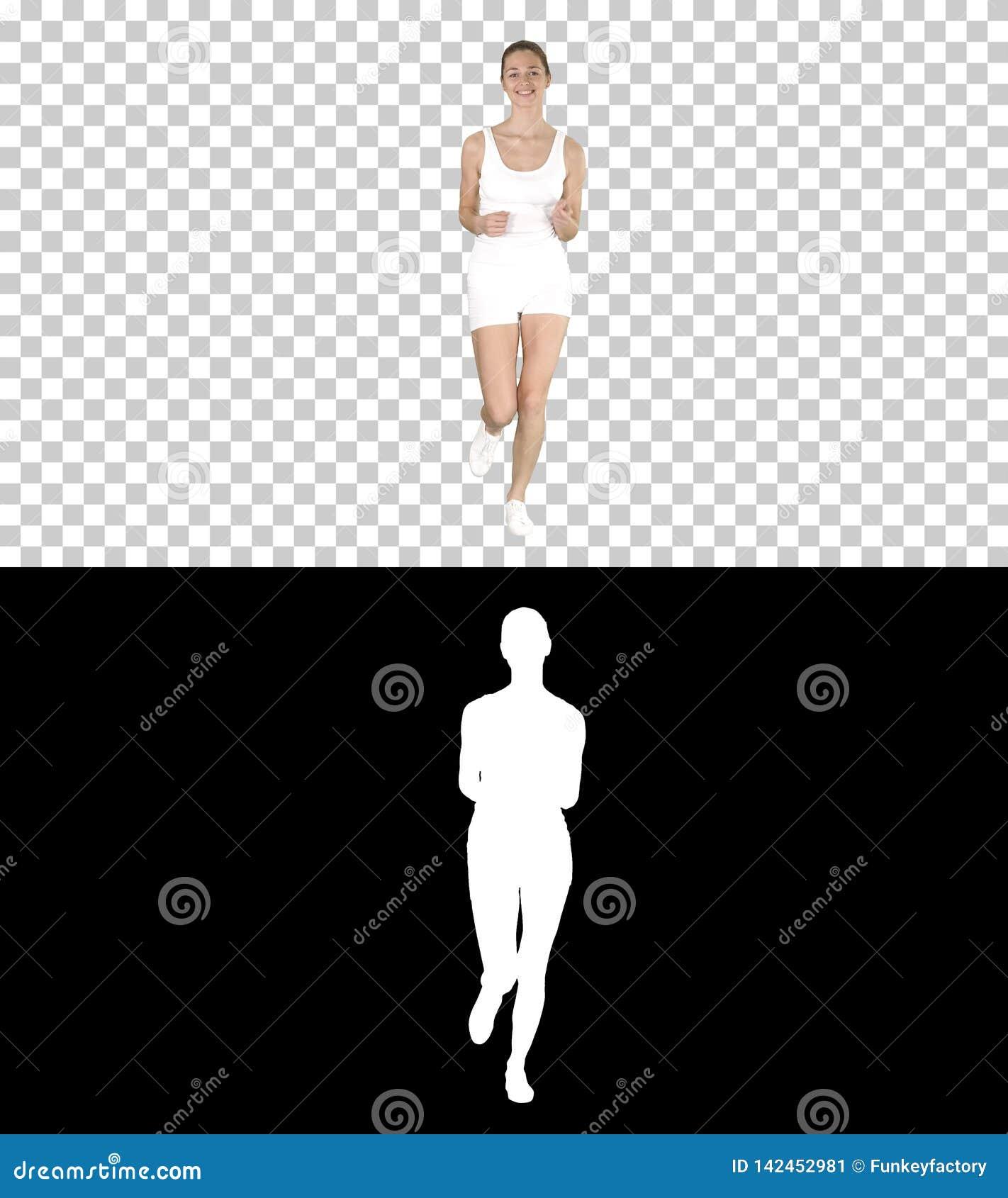 Beautiful woman running, Alpha Channel