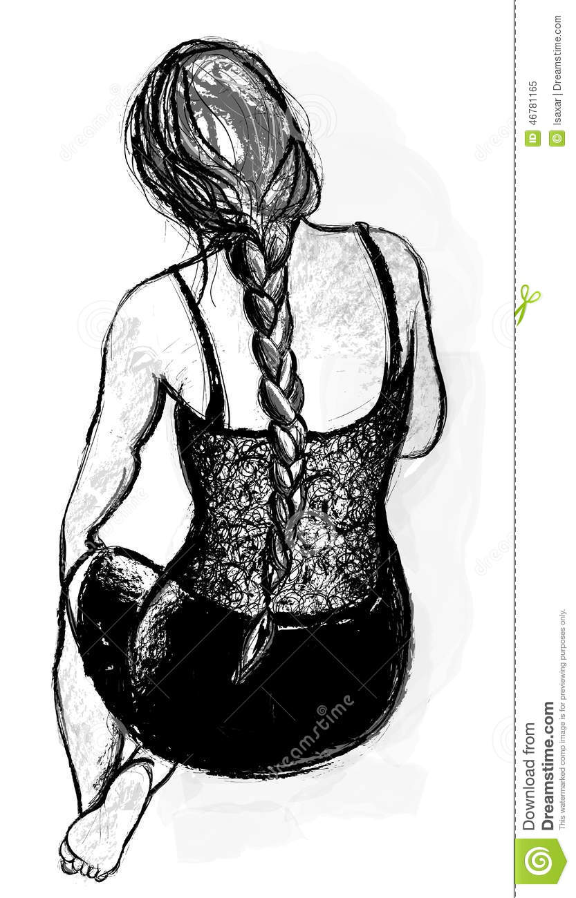 Beautiful Womans Back With A Braid Stock Vector