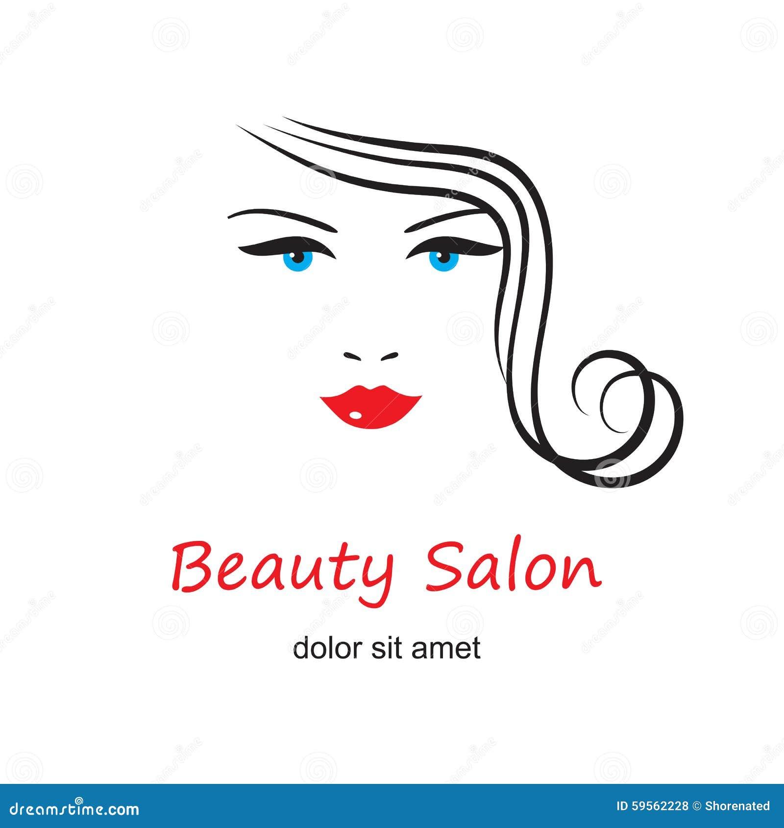 face vector woman beauty hair salon template gezicht vrouw mooie het icon sign