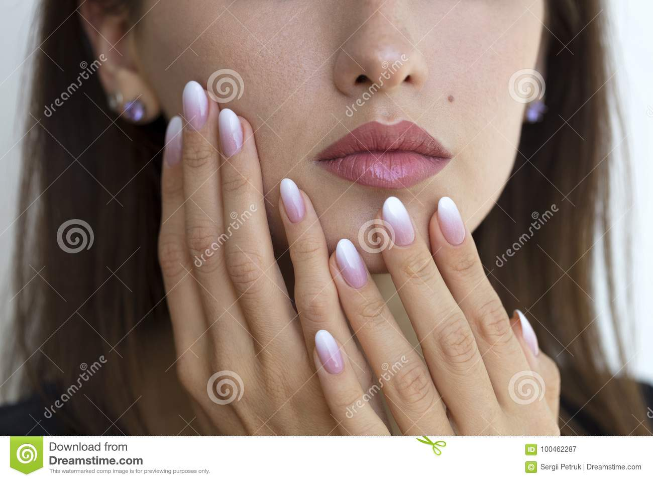 Beautiful Woman`s Nails With Beautiful French Manicure Ombre Stock ...