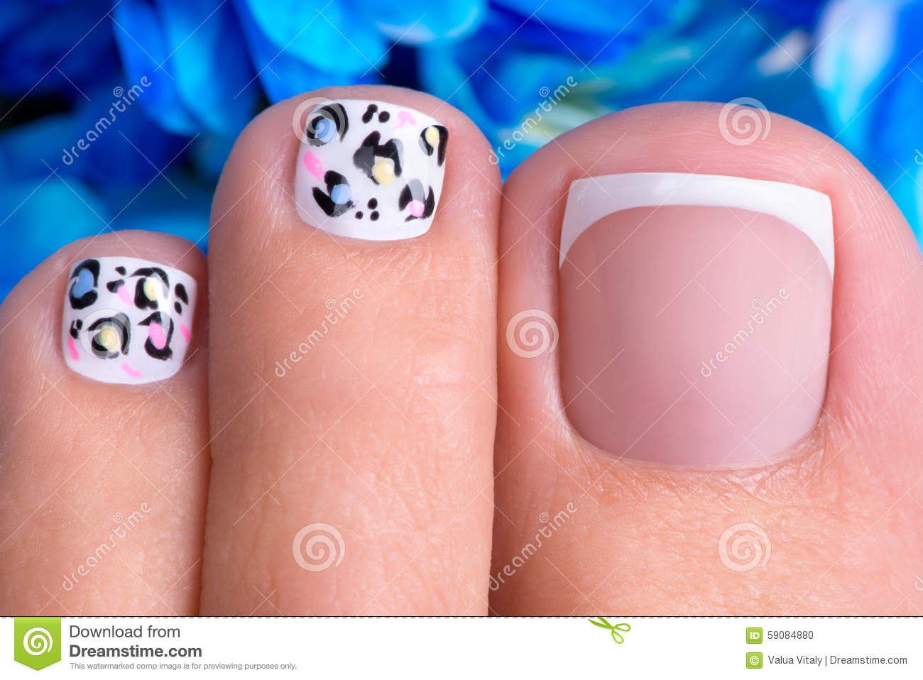 Beautiful Womans Nails Of Legs With French Manicure Stock