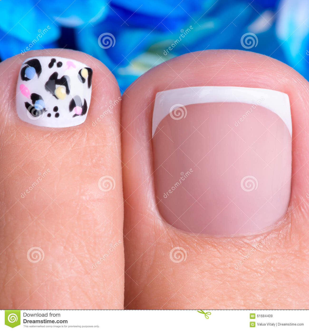 Beautiful Womans Nails Of Legs With Beautiful French Manicure Stock