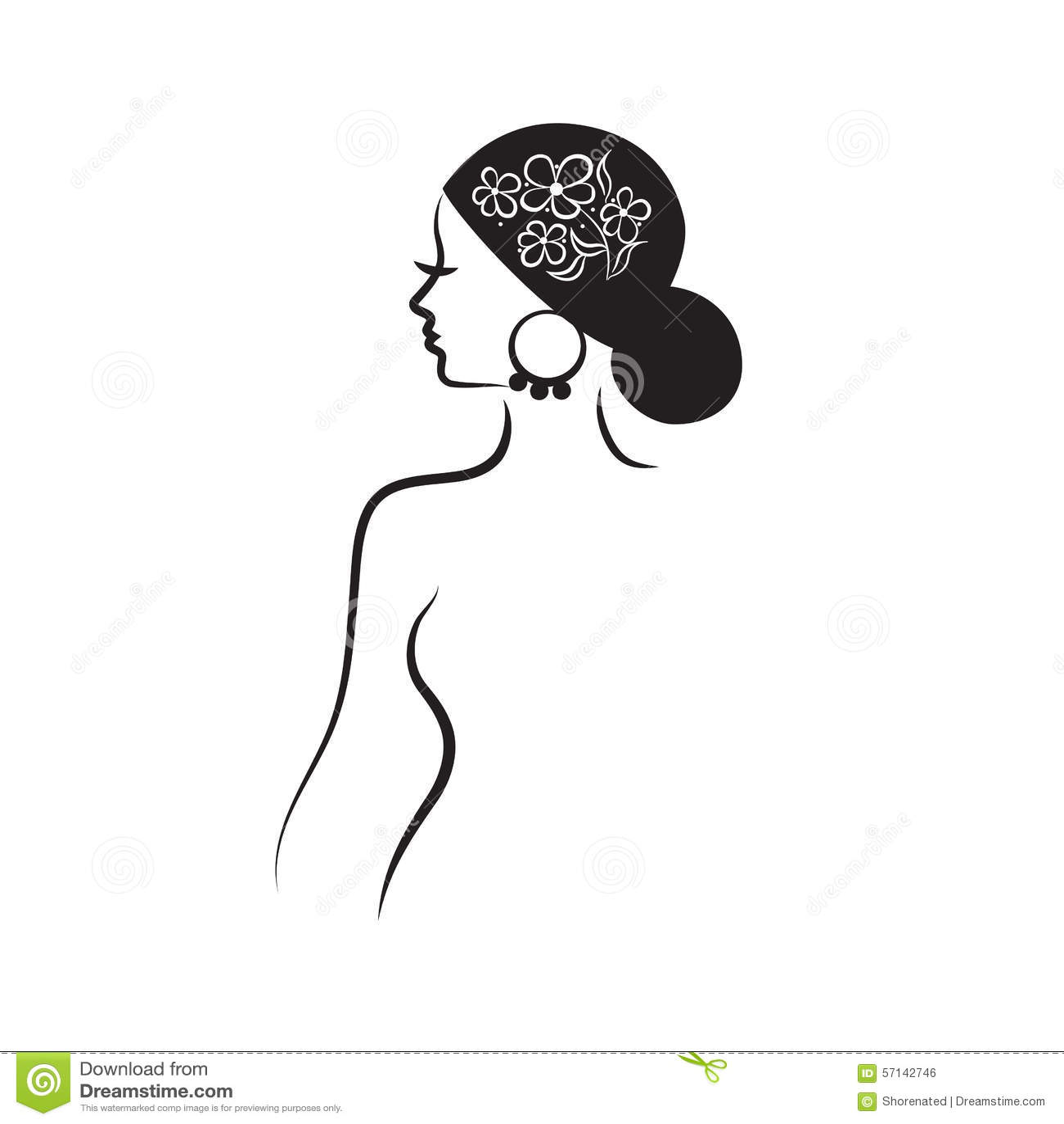 Beautiful Woman's Profile Stock Vector. Illustration Of
