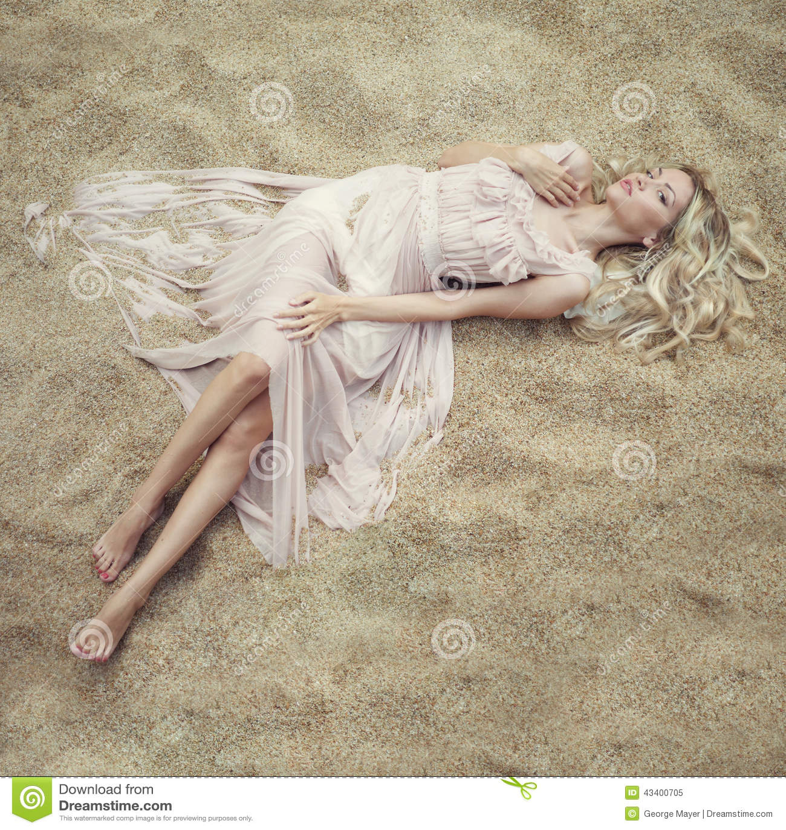 Beautiful Woman On Sand Stock Photo - Image: 43400705
