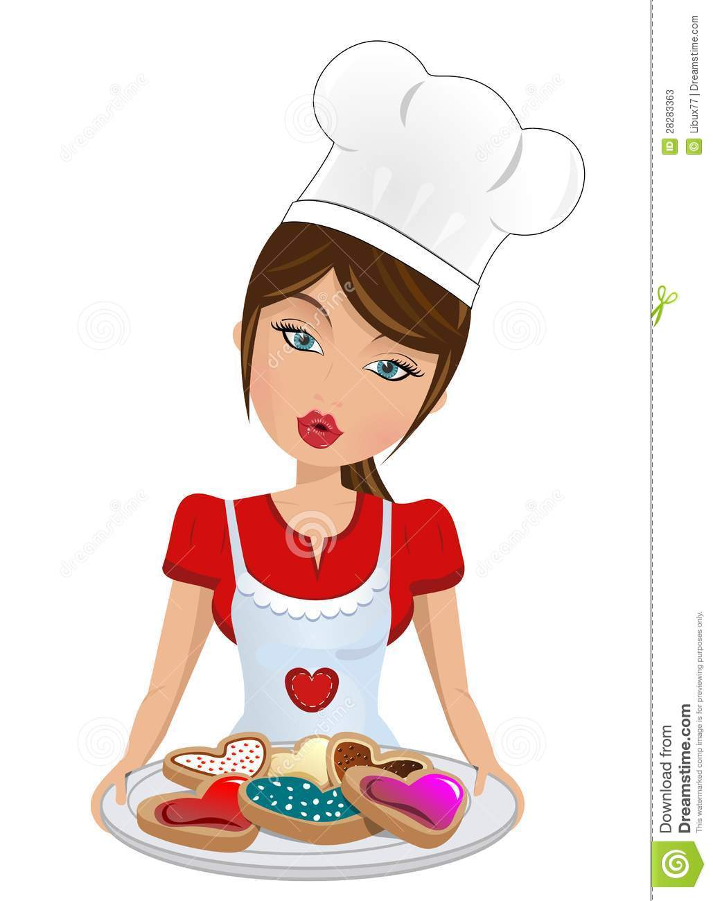 Beautiful Woman Serving Heart Shaped Cookies Stock Vector