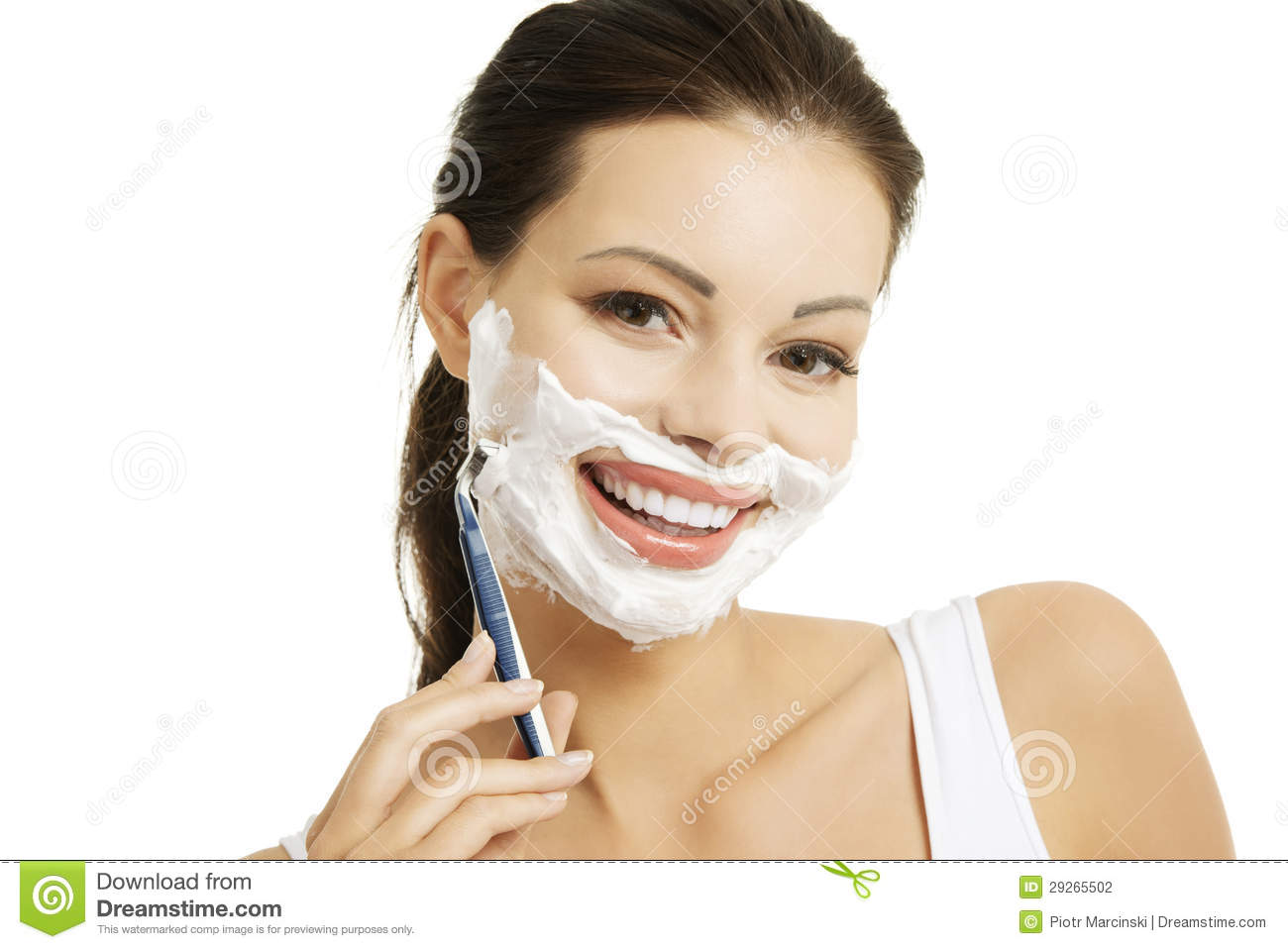 beautiful woman shaving her face with a razor stock photography image 29265502. Black Bedroom Furniture Sets. Home Design Ideas