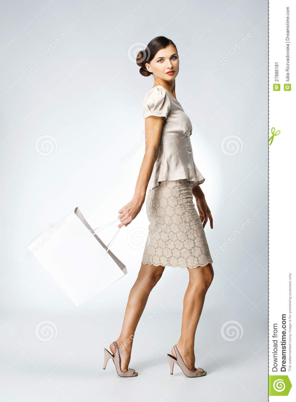 Beautiful Woman With Shopping Bag Stock Image - Image: 27886181