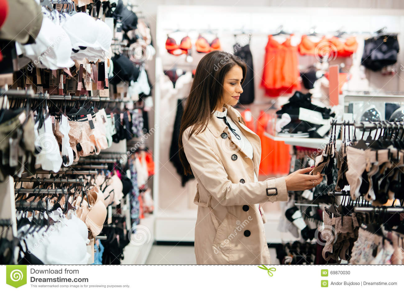 Beautiful Woman Shopping Lingerie Stock Photo - Image: 69870030