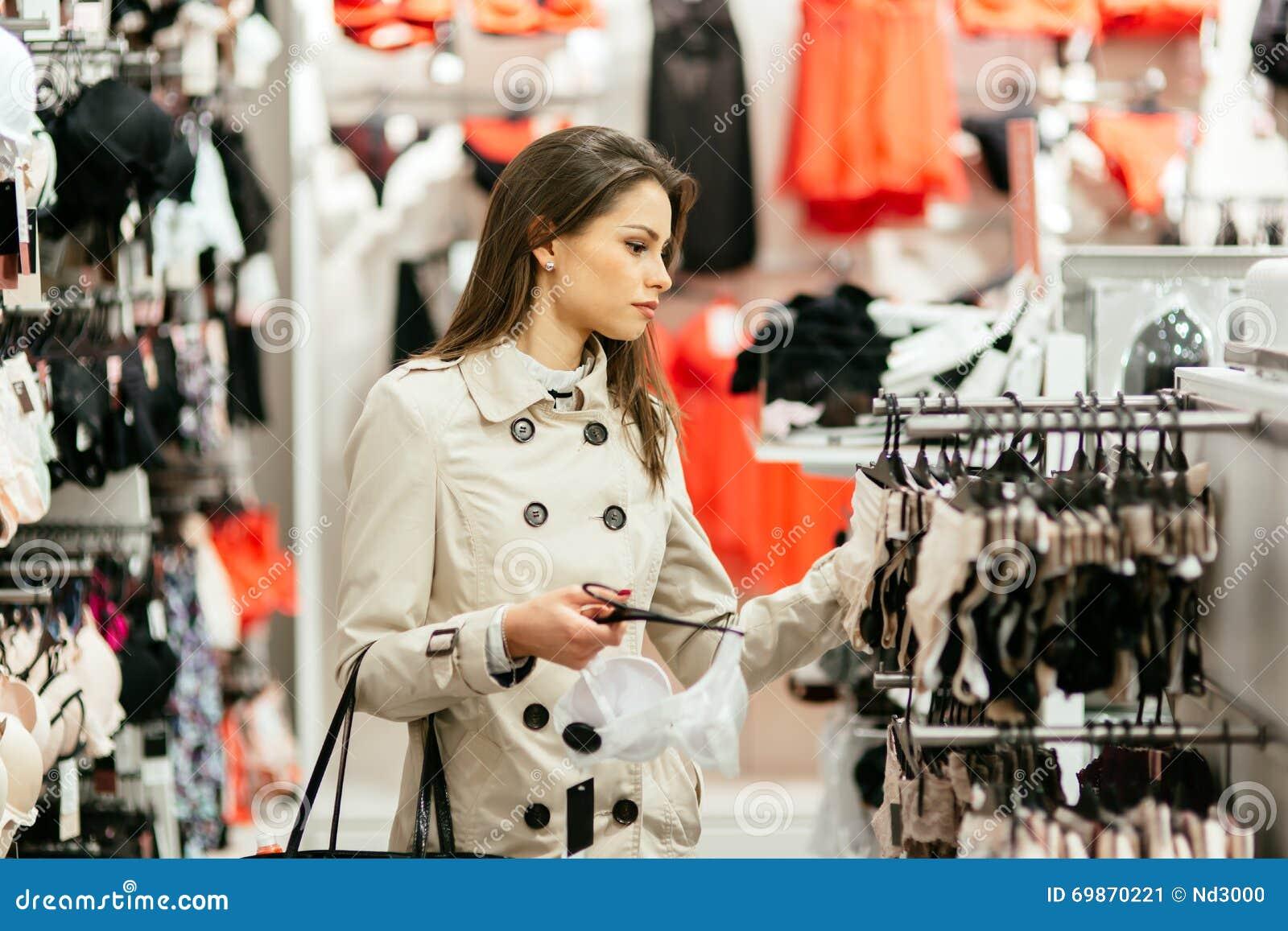 Beautiful Woman Shopping Lingerie Stock Photo - Image: 69870221
