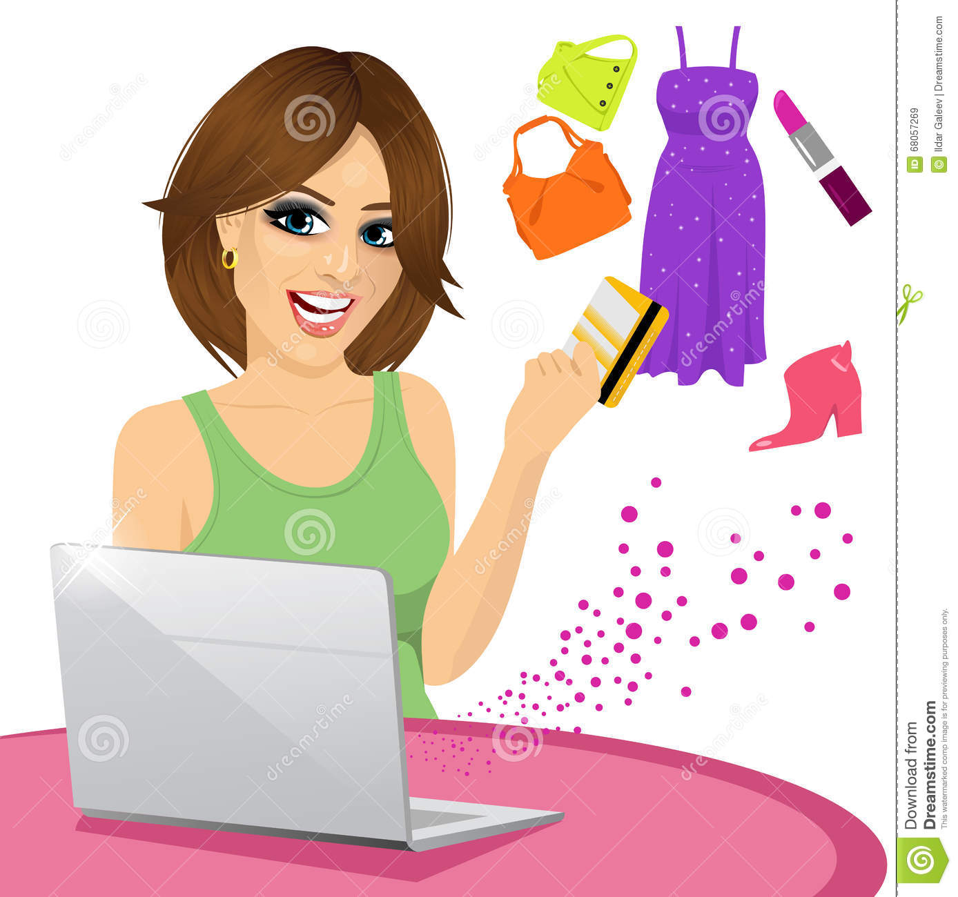 Beautiful woman shopping online using a laptop with her credit card buying some fashion goods