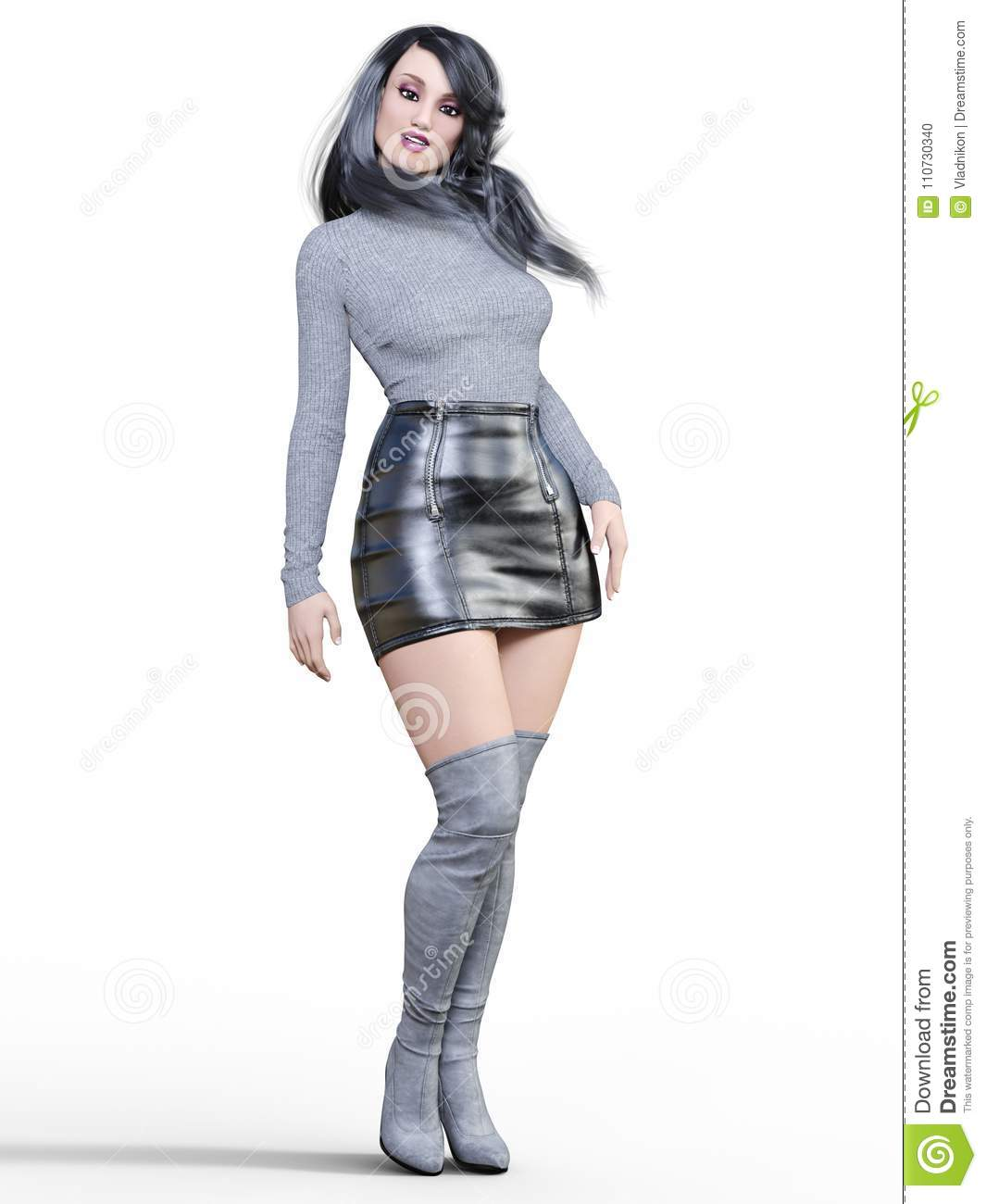 6e34391a8c6 3D beautiful woman in short black leather skirt and long boots.Gray  pullover.Bright makeup.Woman studio photography.High heel.Conceptual  fashion art.