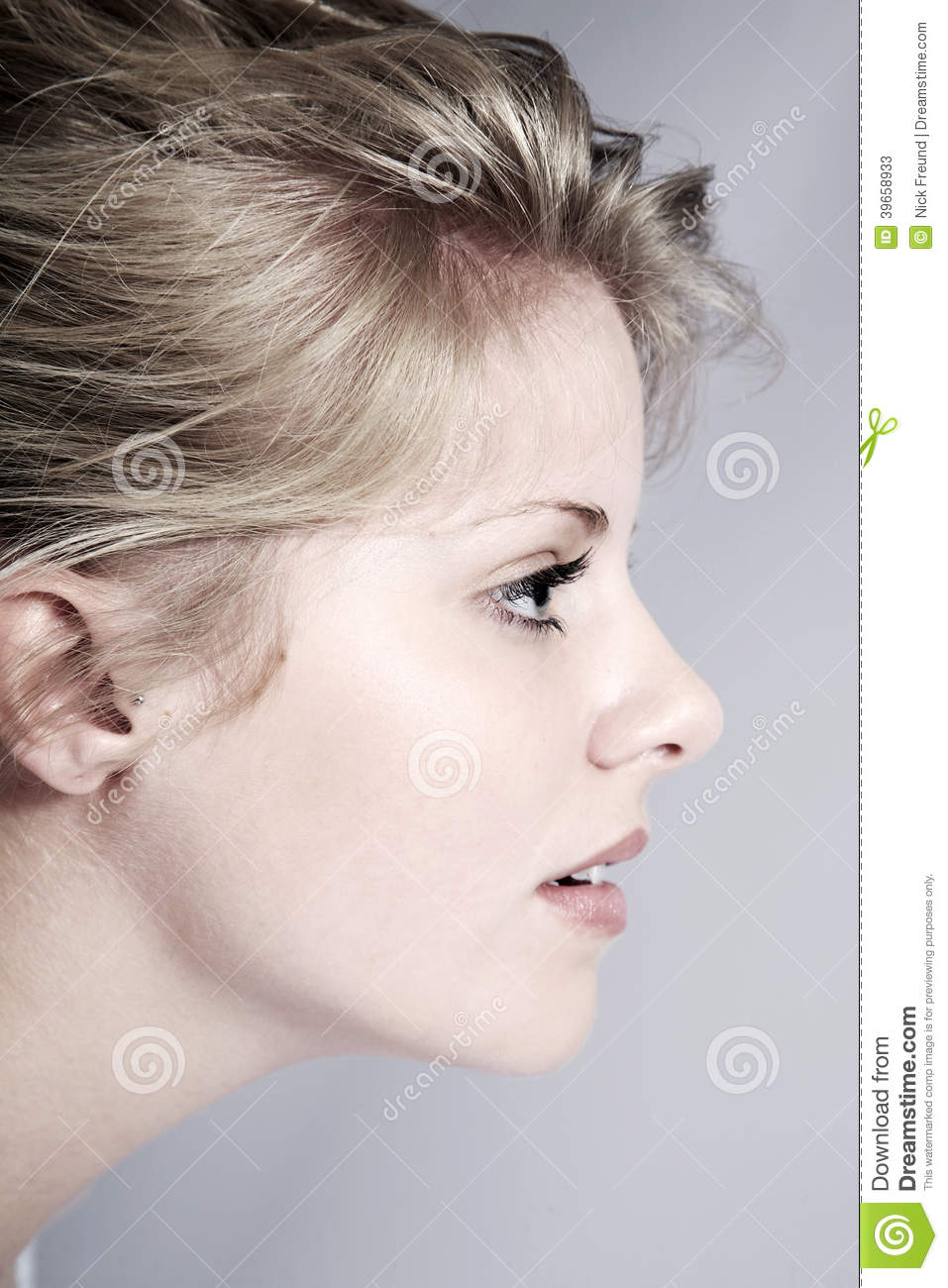 Beautiful Woman With The Side View Stock Image