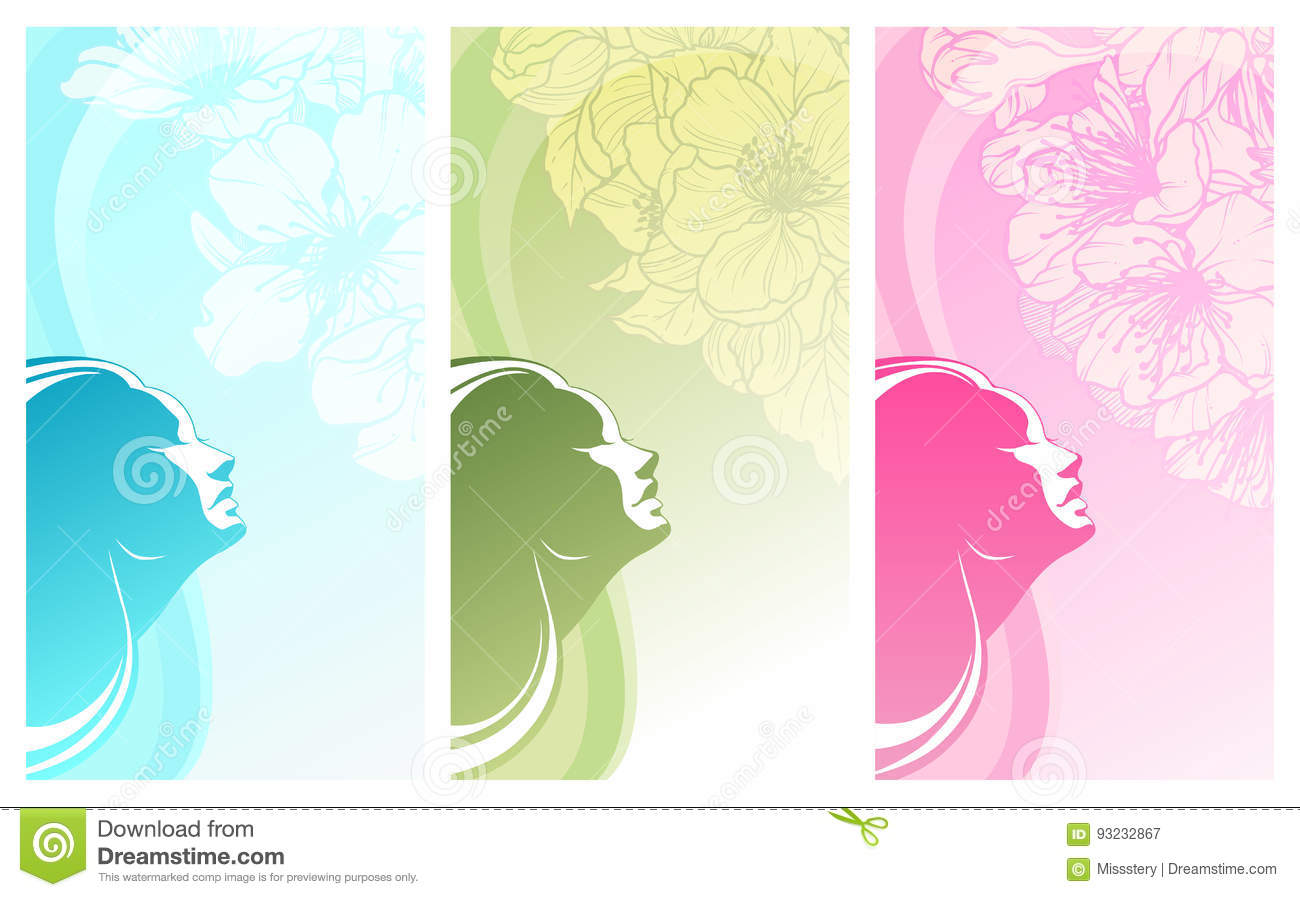 Beautiful Woman Silhouette On Color Background Stock Vector