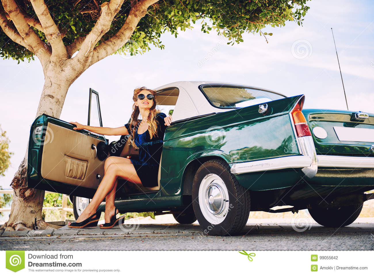 Beautiful Woman Sitting In A Car Stock Photo - Image of auto 658c46db306