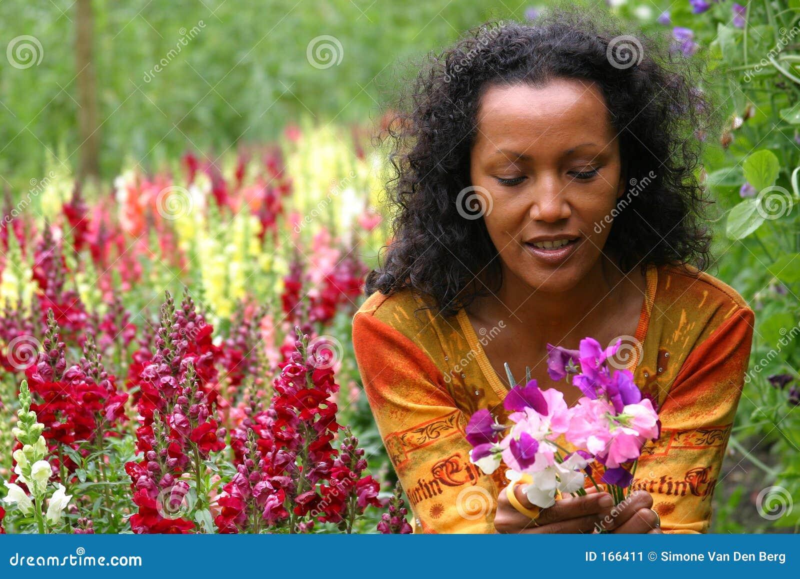 Download Beautiful woman smiling stock image. Image of gardening - 166411