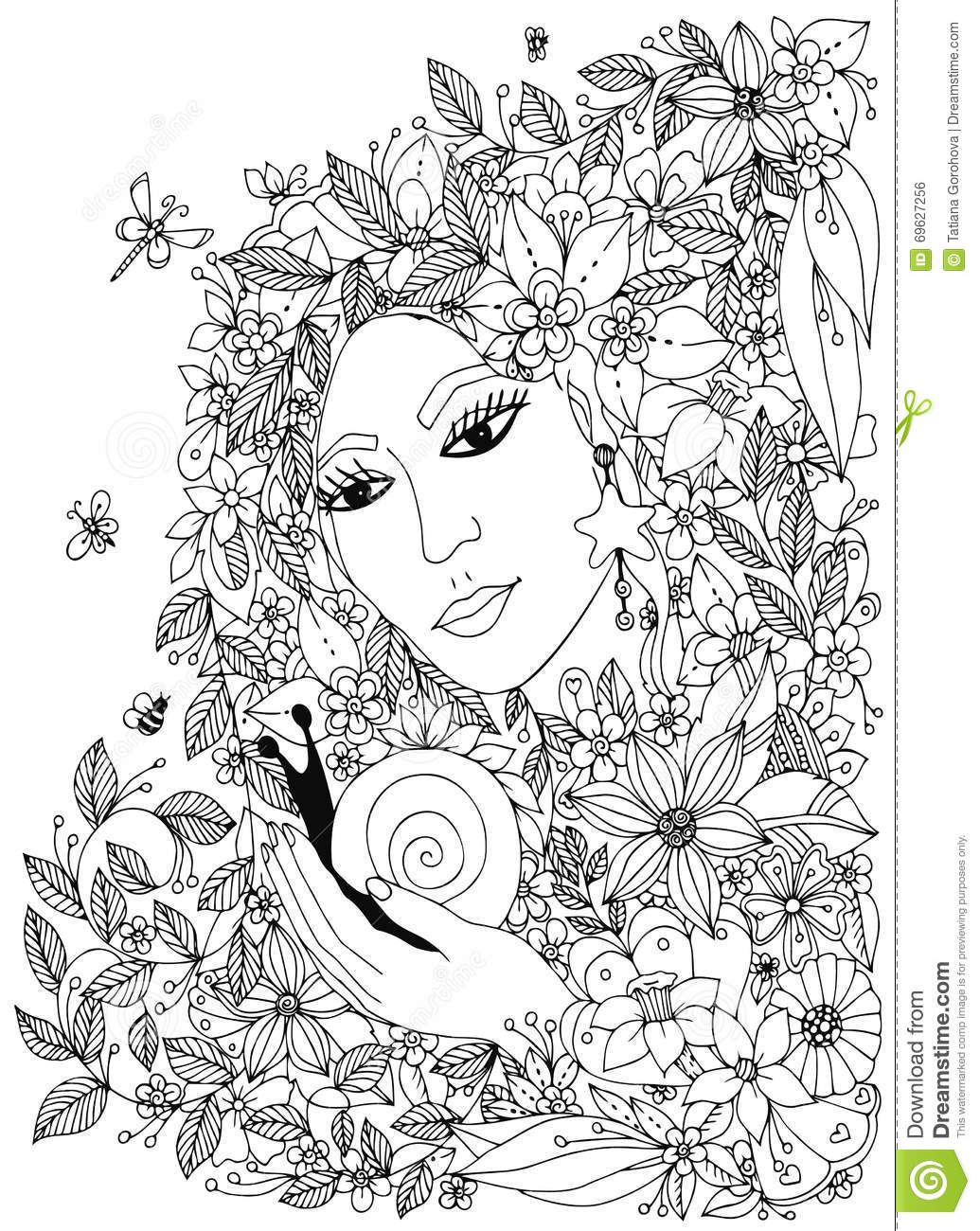 beautiful woman with snail in the colors design for coloring book