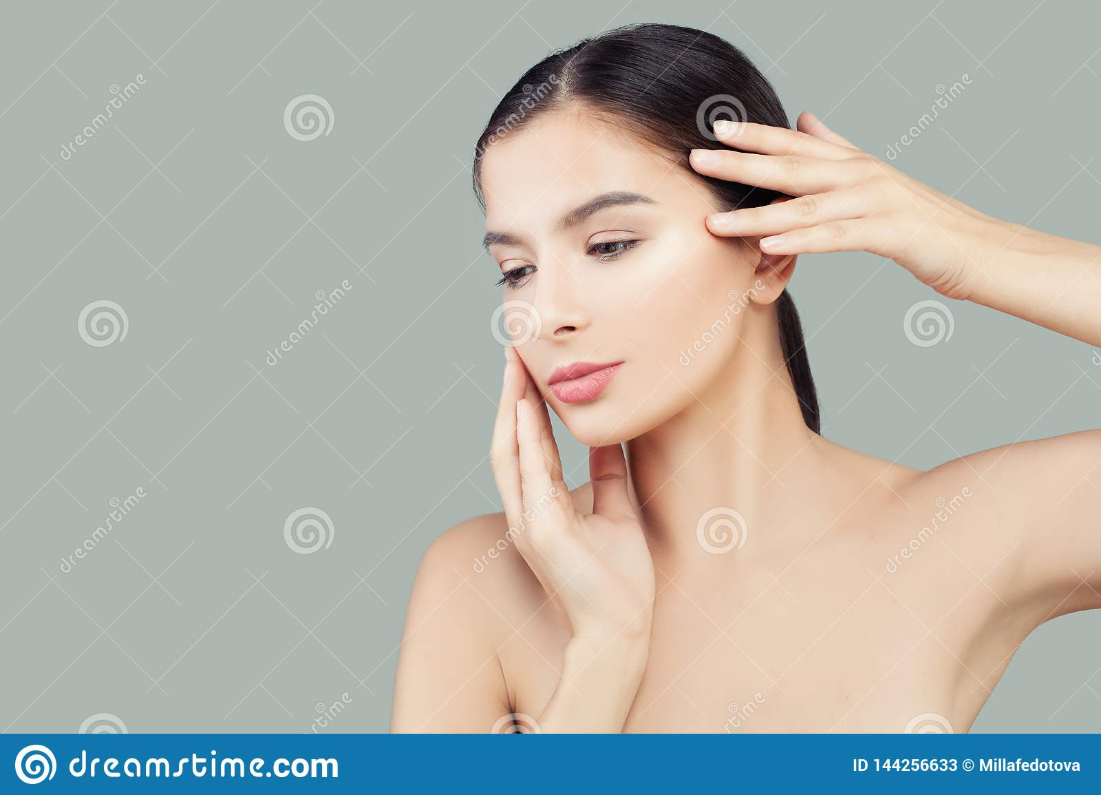 Beautiful woman spa model with healthy clear skin. Facial treatment and skin care concept