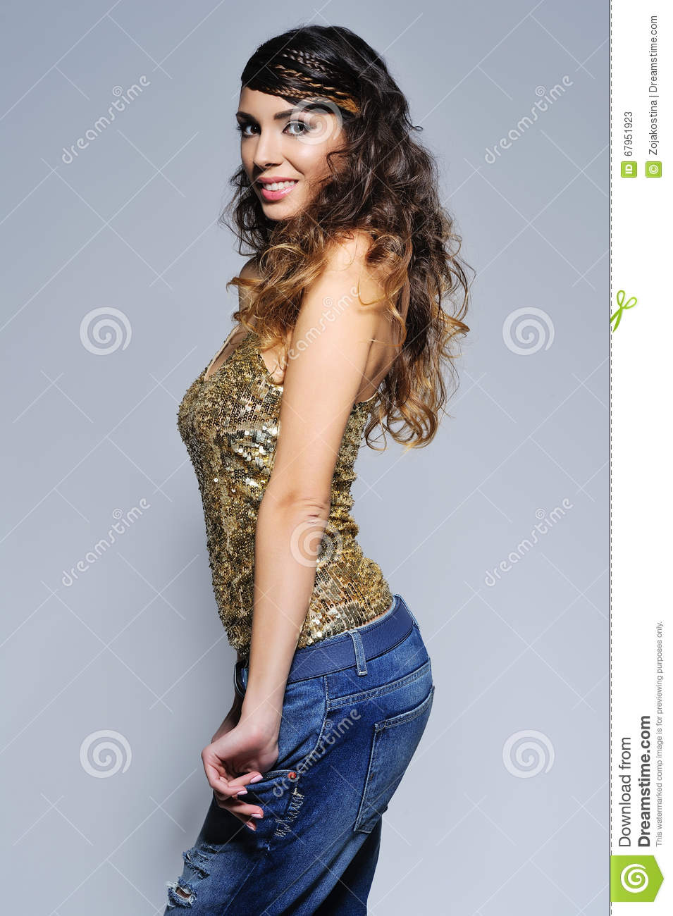 beautiful woman in sparkling top stock image - image of portrait
