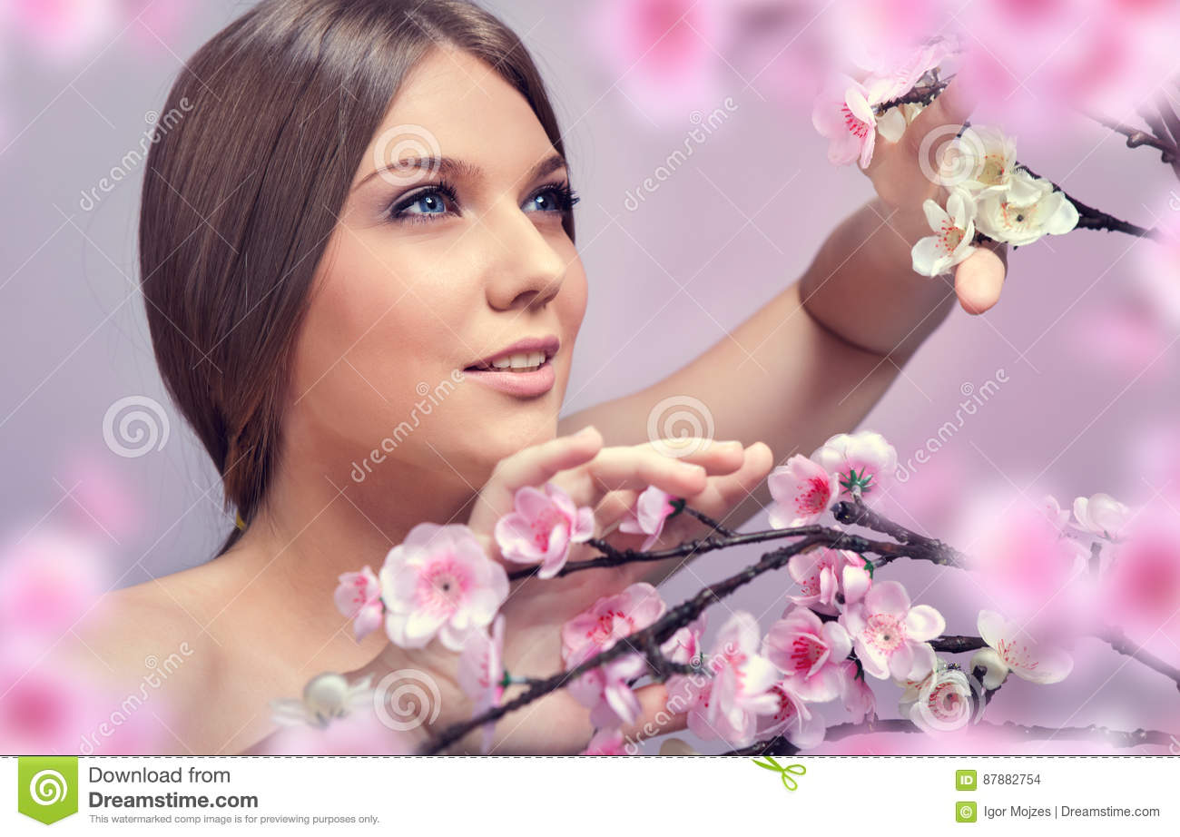 Beautiful woman in spring