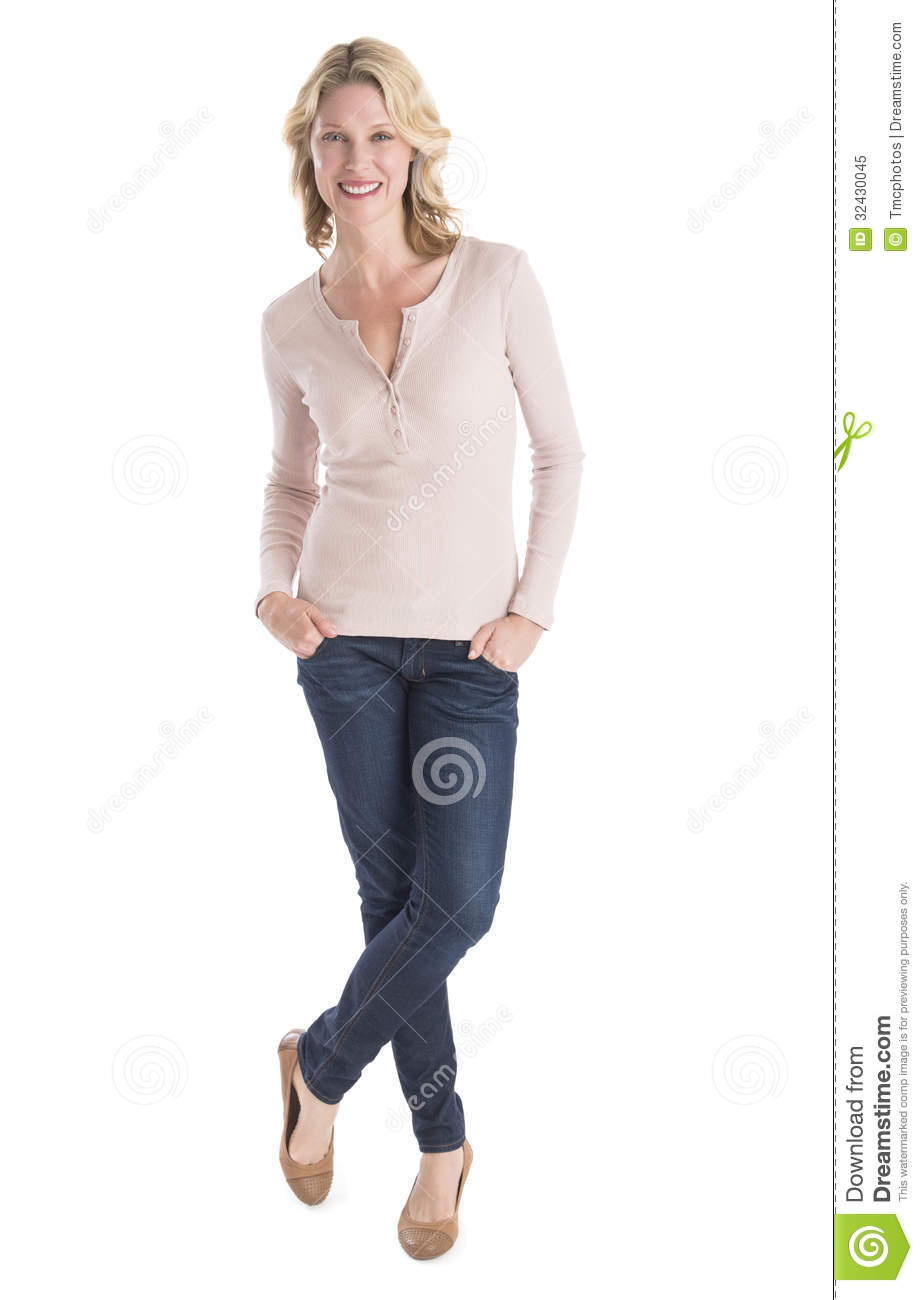Beautiful Woman Standing Hands In Pockets Over White Background