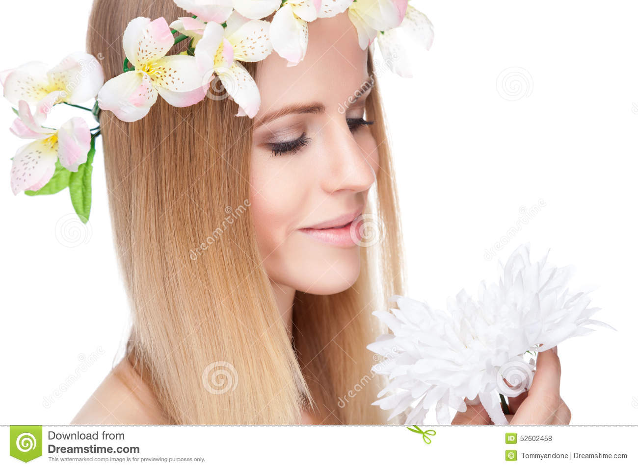 Beautiful woman with straight hair and flowers stock photo image beautiful woman with straight hair and flowers stock photo image of hair attractive 52602458 izmirmasajfo