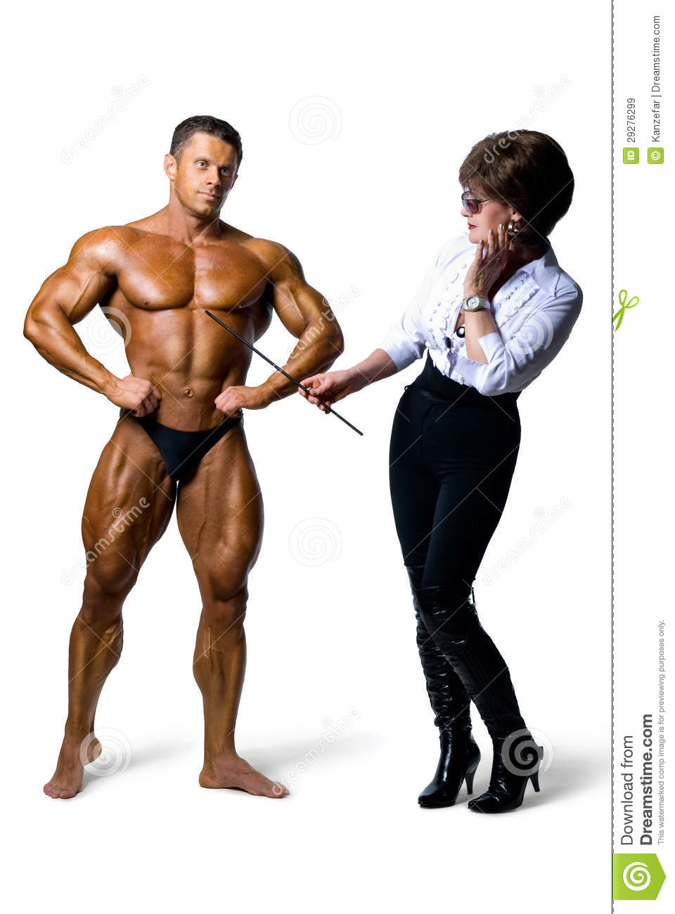 Beautiful Woman Studying Male Body Muscular Men On A White Background ...
