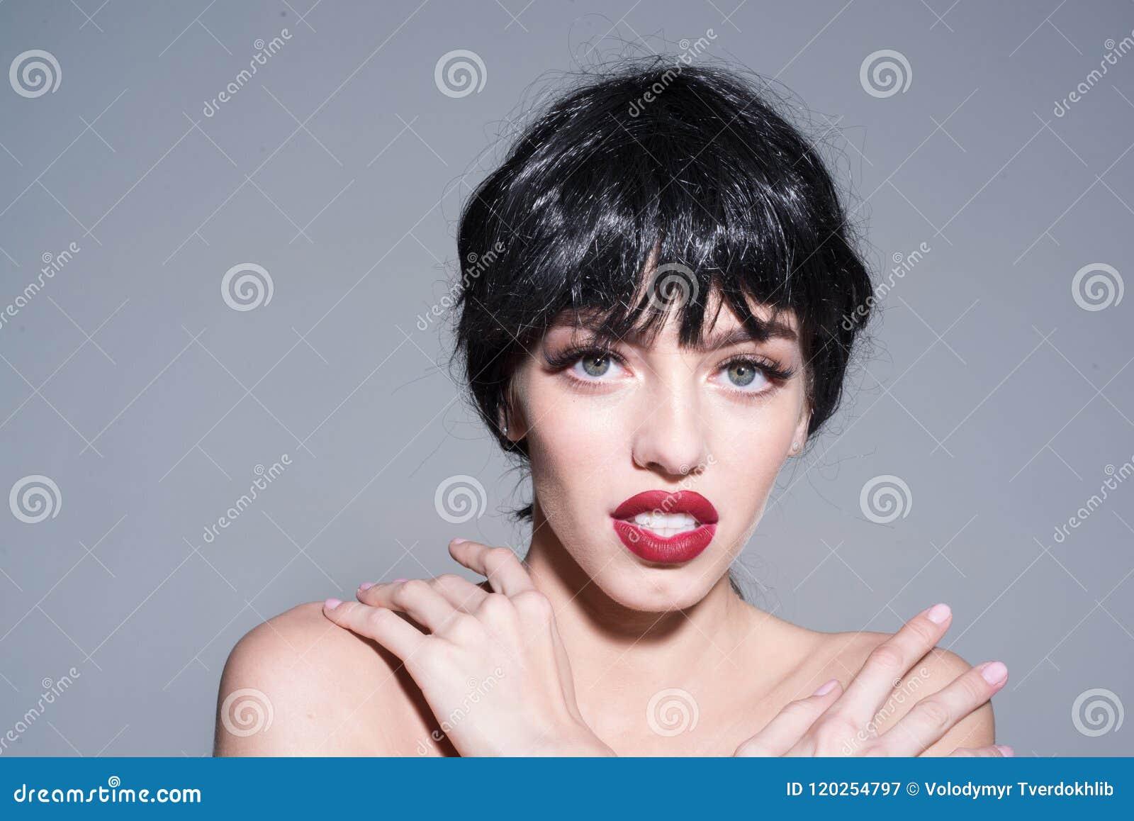 Beautiful Woman With Stylish Make Up Big Green Eyes Short Glossy