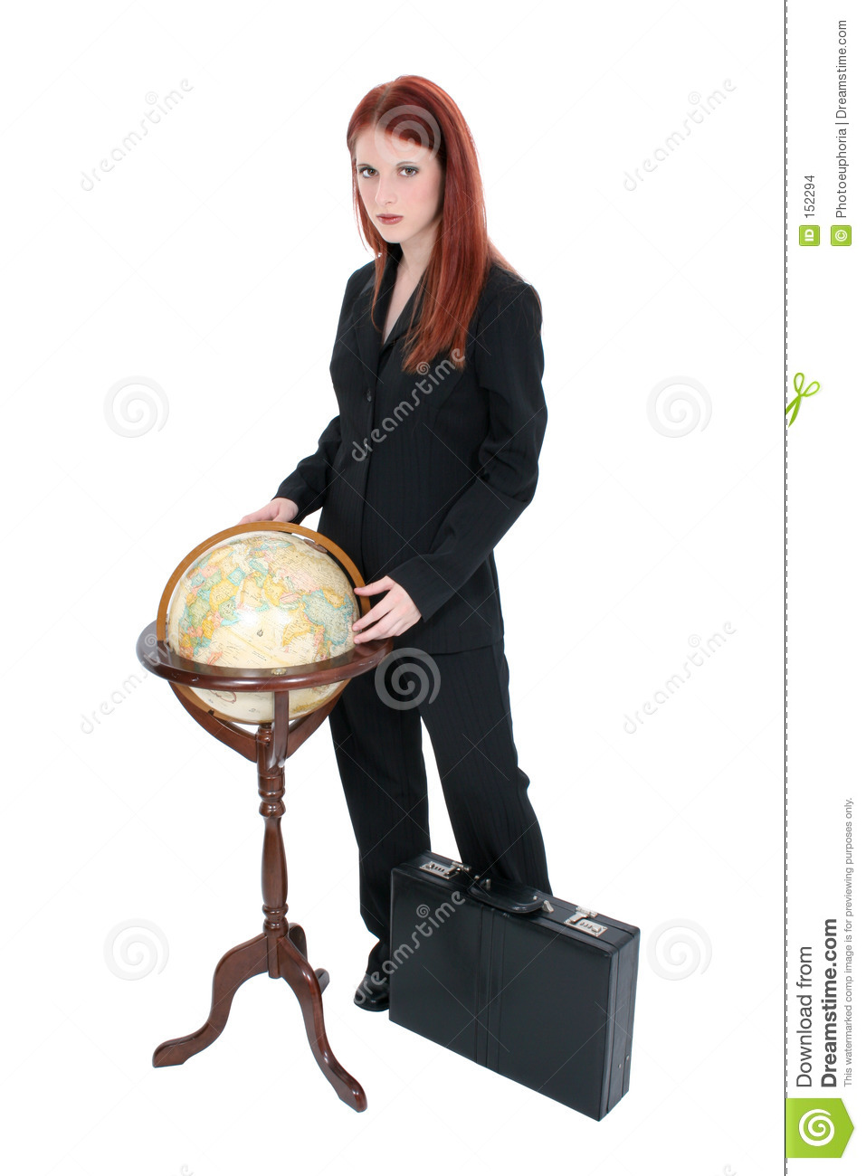 Beautiful Woman In Suit With Globe And Briefcase